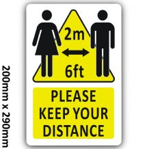 LARGE Aluminium Please Keep Your Distance 2m Social Distancing 200x290mm Metal Sign Notice Safety